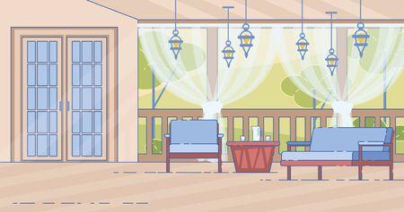 Cottage House Comfortable Outdoor Terrace Vector Standard-Bild - 133926301