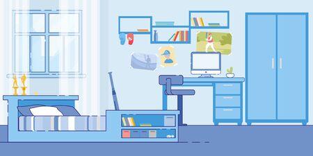 Teenage Boy Bedroom Cozy Interior Flat Vector