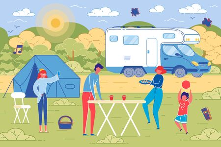 Family picnic outdoor on Countryside Background.