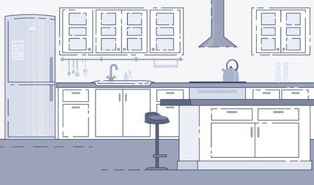 Modern Kitchen Roomy Interior Vector Background