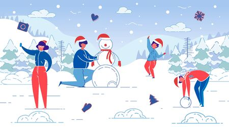 Flat Banner Winter Fun, Modeling Snowman, Slide. Standard-Bild - 133926618