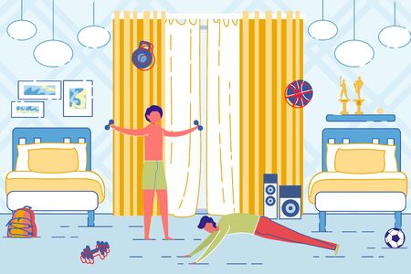 Father and Son Doing Morning Exercises on Bedroom. Ilustrace