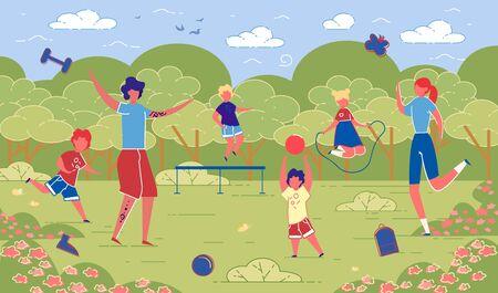 Illustration Family Sporting Activities in Nature. Ilustração Vetorial