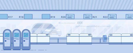 Modern Airport Terminal Corridor Flat Vector Illustration