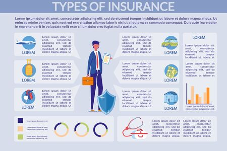 Insurance Types - Property and Health Infographic. Illustration