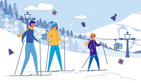 Happy United Family Skiing in Mountains Resort. Illusztráció