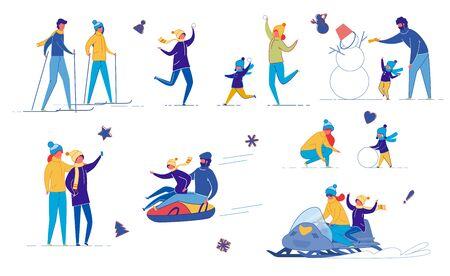 Ensemble d'amusement d'hiver d'activités de plein air pour la famille, les amis.