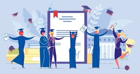 People Get Diploma Certificate, Finish University.
