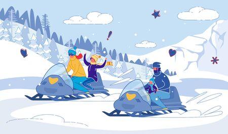Courses d'hiver en motoneige en famille Joie avec les enfants.