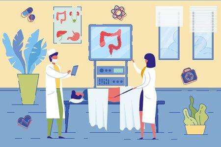 Colonoscopy Procedure Screening Colon Diseases. 矢量图像