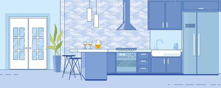 Trendy Spacious Home Kitchen Design Scheme Idea Çizim