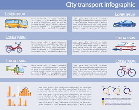 Insieme di infografica di trasporto pubblico e privato della città.