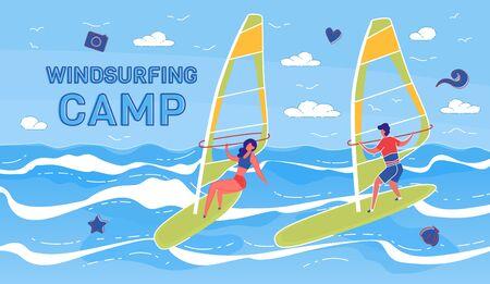 Windsurfing Summer Camp Vector Banner Template