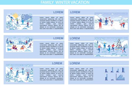 Set, Written Family Winter Vacation, Cartoon. Parents with Children Enjoy Skiing from Mountainside. Children Rejoice and Laugh when they Ride Sled Snow Slide. Family Sculpts Snowman on Street.