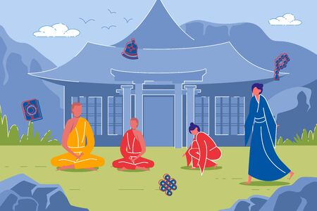 Buddhist Monks Against Background with Pagoda
