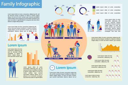 Families Structure with Children Infographic. Illusztráció