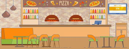 Empty Pizzeria Room Interior with Furnace, Counter, Sofa, Chairs Vector Illustration. Order Ready Pizza Delivery Service. Inside Italian Cafe. Salami Pepperoni Tomato and Cheese Pizza