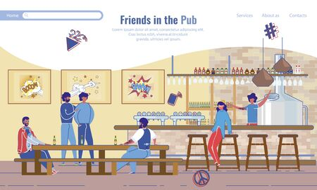 Happy Best Friends Rest in Pub Landing Page Lifestyle Design. Young Cheerful People Joking Drinking Beer, Having Fun at Bar. Meeting in Restaurant. Choosing Place for Recreation. Vector Illustration