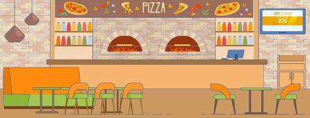Empty Pizzeria Interior Pizza Delivery Service