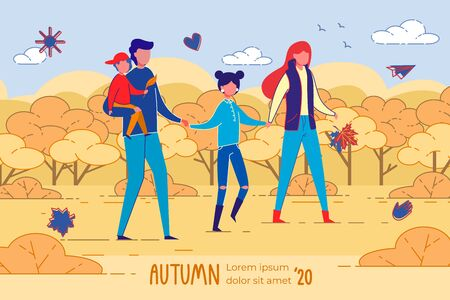 Golden Autumn 2020 Banner. Happy Four Membered Family, Spending Time Together Outdoors. Pleasant Walk in Open Air. Teenager Girl, Holding Hands with Mom and Dad. Loving Father, Carrying Little Son.