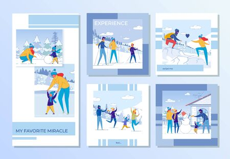 Family Winter Recreation and Games Outdoor Set. Ilustrace