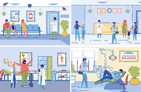 Dieticians or Nutritionists Specialists in Healthcare Clinic Interiors Accepting VIsitors. Medical Assistance to Overweight Patients in Weight Loosing. Flat Cartoon Vector Illustrations Set. Stock Illustratie