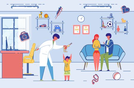 Family Health and Psychological Support Centre Patients Room Interior. Young Family with Child at Psychotherapist or Family Relations Specialist Consultation. Flat Cartoon Vector Illustration. Ilustrace