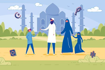 Four Membered Islamic Family in Traditional Clothing. Parents with Two Kids Against Ancient Mosque in Background. Father, Talking to Son. Modest Mother and Daughter, Wearing Black Niqabs. Illustration