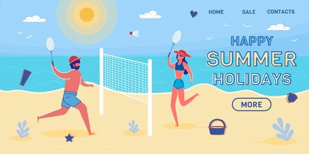 Happy Summer Holidays Vector Landing Page Template
