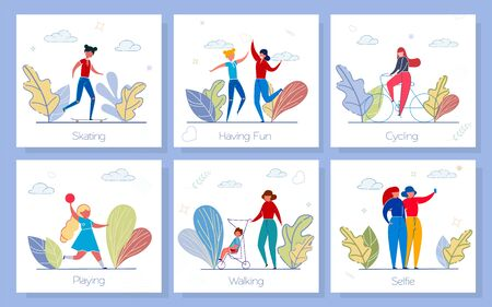 Fresh Air Fun Social Media Banners Vector Set. Adults and Children spend Time Outside Cartoon Characters. Active Pastime, Outdoor leisure, Family Strolling Concept Illustrations with Text Space