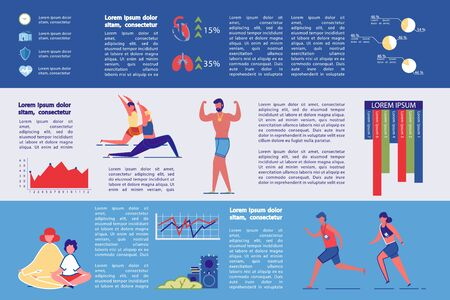 Active Lifestyle and Physical Health Infographic Set. People Characters Doing Sport Exercises and Workout. Fitness Importance for Longevity - Visual Educational and Informational Presentation.