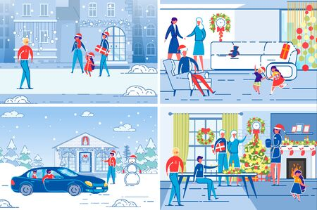 Family and Friends Celebrating Christmas and New Year Holiday Together Set. Xmas Preparation Chores and Celebration Joy Backgrounds with People - Young, Elderly and Children. FLat Vector Illustration.