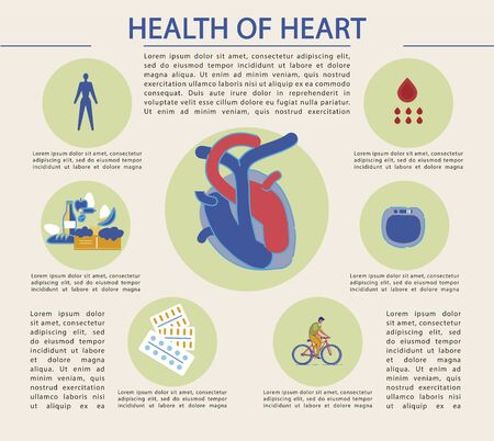 Bright Banner Written Health of Heart, Infographic. In Center is Heart with Arteries Blue and Red. Heart Health Depends on Healthy Diet. Heart Support with Pharmaceuticals, Cartoon.