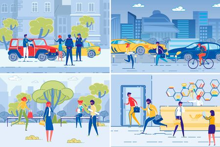 City People on Town Streets and Workplace Set. 向量圖像
