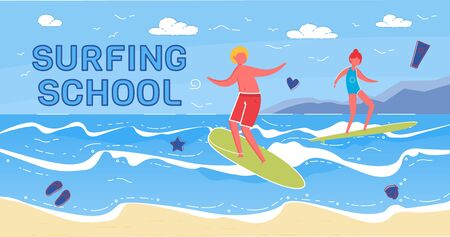 Surfing School Vector Banner with Happy Surfers 矢量图像