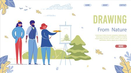 Drawing from Nature Landing Page Vector Template. Art School Website Page Concept with Cartoon Characters. Training Course Web Banner Layout. Teacher Artist Painting Fir Tree Flat Illustration Ilustracja