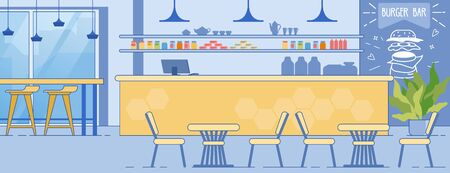 Burger Bar Interior Room with Counter Table Chairs Illustration