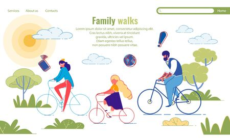 Family Walk by Bicycle on Weekends, Illustration.