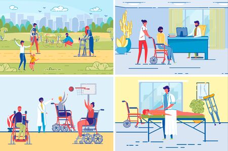 Active Disable People or Handicapped Persons Lifestyle and Rehabilitation Backgrounds Set. Men and Women Cartoon Characters in Wheelchair or on Crutches Sport and Treatment. FLat Vector Illustration.