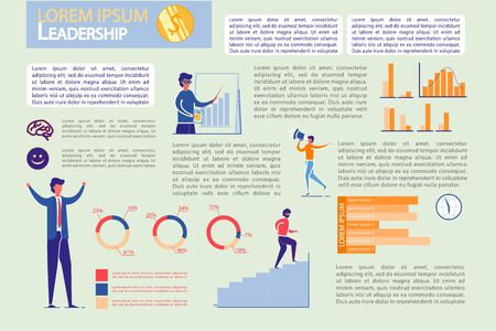 Leadership on Market and Financial Success Infographic Set. Successful Businessman Character and Diagrams in Presentation Kit. Business Statistics and Analysis Report. Flat Vector Illustration.