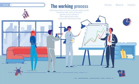 Working Process in Professional Office, Banner. Men and Women, Company Employees Discuss Growth Chart Located on Large Stand. Spacious Room for Comfortable Discussion, Vector Illustration.