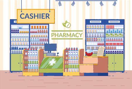 Pharmacy Interior, Empty Drugstore Modern Area