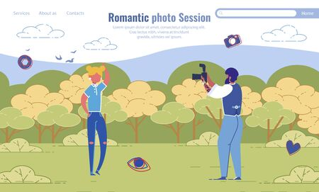 Romantic Photo Session Organization Landing Page Design. Amateur Photoshoot on Date. Photographer and Model Cartoon Characters. Male Journalist Correspondent and Woman. Vector Illustration Ilustracja
