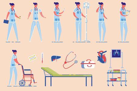 Doctor or Hospital Nurse Female Character Vector. Çizim