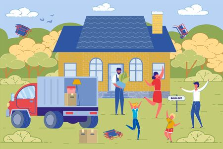 Family Moving from Old Sold House to New Relocation Place. Happy and Cheerful New Dwellers Loading Furniture into Lorry. Suburban House Building and People Characters. Flat Vector Illustration. Ilustração