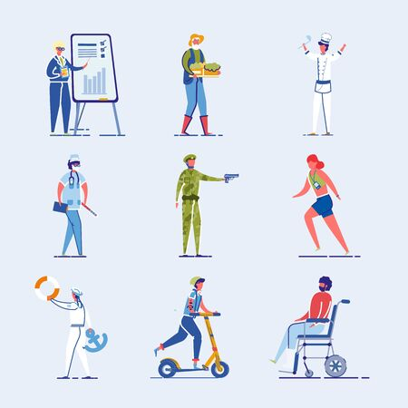 Different Characters Set - Athlete and Disabled Person as well as Student and Various Occupations People. Human Diversity and Modern Lifestyle Personages Collection. Flat Vector Illustration Isolated. Иллюстрация