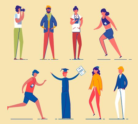 Men and Women Cartoon Characters Set. Different Age and Gender Personages - Students, Sportsmen and Professionals. Modern People Diversity and Occupation. Flat Vector Illustration Isolated.