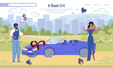 Rich Man in Suit Giving Luxury Sport Car to Woman in Elegant Dress Flat Design. Good Gift Lettering Landing Page. Husband Surprise for Wife. Anniversary Celebration. Vector Cartoon Illustration Standard-Bild - 138334763