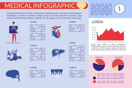 Medical Exam Infographic Set with Human Body Organs and Diagrams, Charts Icons and Statistics Elements. Medicine Educational Data for Public Health Care Visual Graphic. Flat Vector iLlustration.