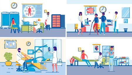 Family Healthcare Hospital Backgrounds Set with Doctors and Patients, Male and Female Cartoon Characters. Dentary, Surgery and Therapy Clinic Medical Office Interiors. Flat Vector Illustration.